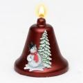 Weihnachtskerze Glockenkerze Schneemann weinrot